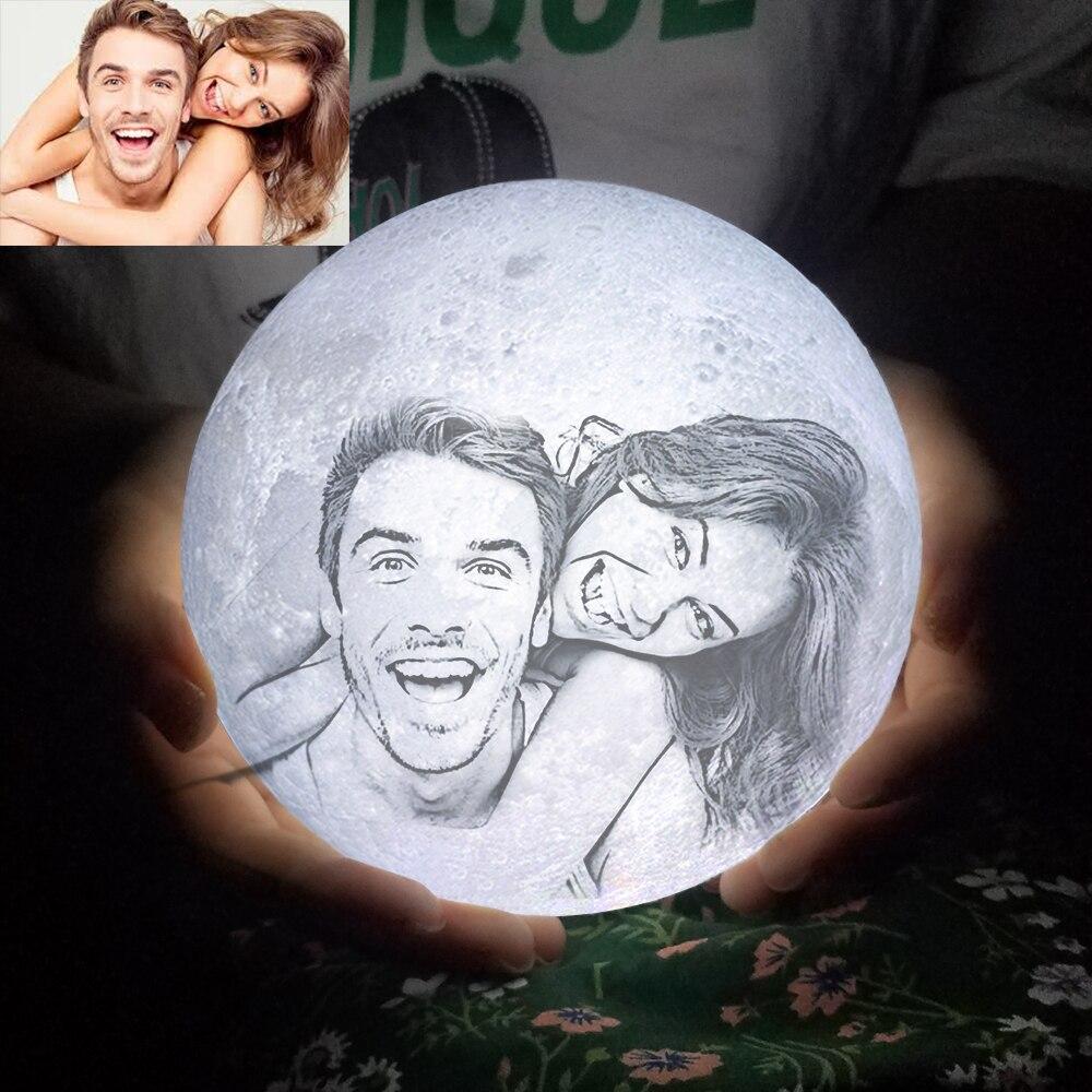 Aangepaste Foto Maan Lamp Gepersonaliseerde Kids Echtgenote Geschenken Nachtlampje Usb Opladen Tap Controle 2/3 Kleuren Moon Light
