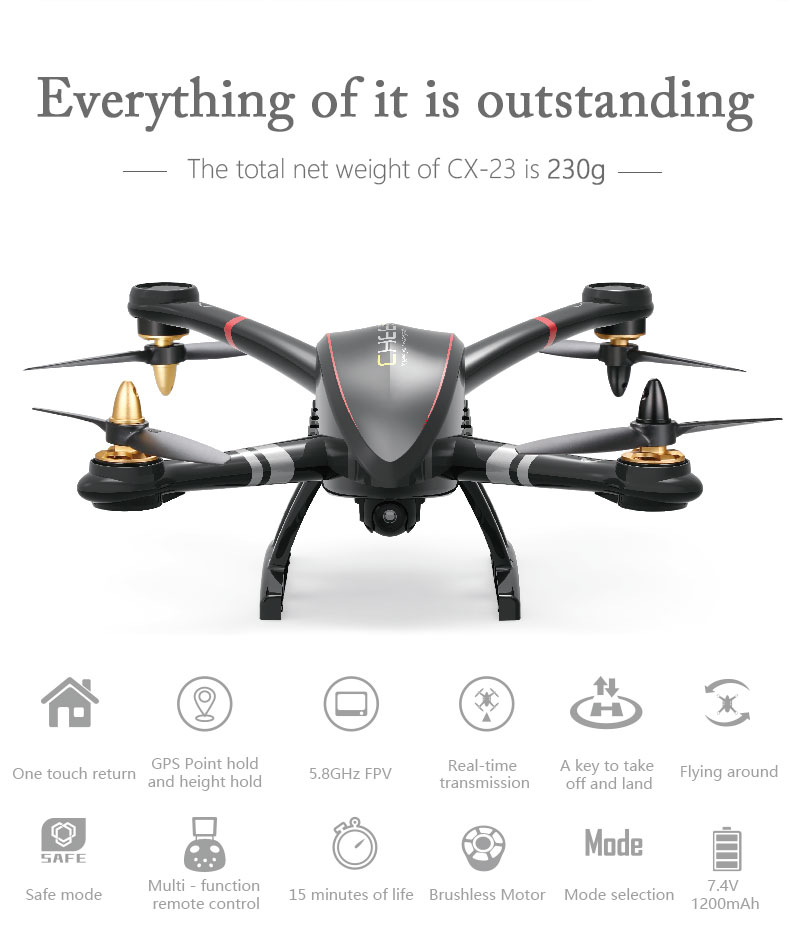 Cheerson CX-23 4CH 6Axis Brushless Motor Drone OSD Function 2MP HD Camera Low-Voltage Warning Auto Landing Quadcopter RC Toys