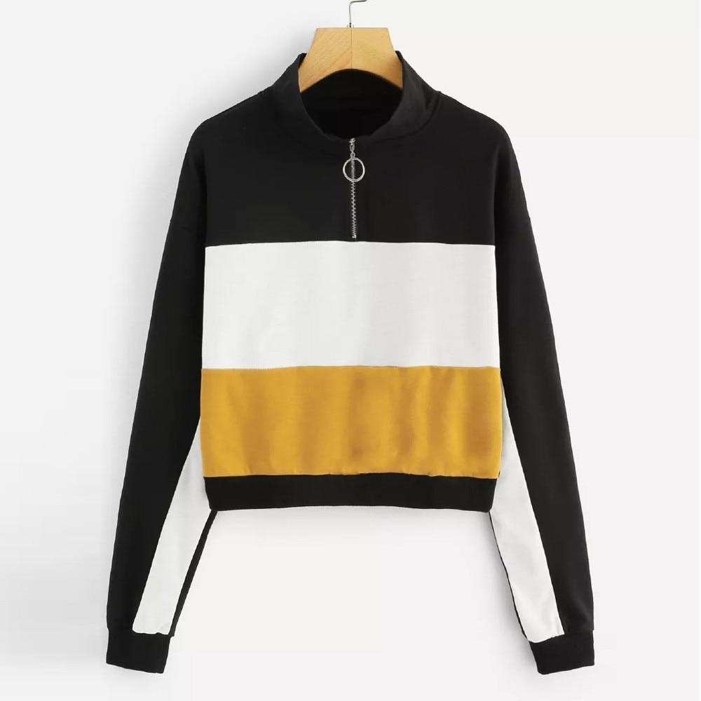 Sweatshirts Ladies 2018 Fashion Womens Long Sleeve Color Block Zip Up Sweatshirt Casual Blouse Pullover  moletom bts kpop