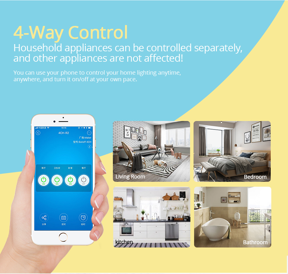 Sonoff 4CH Pro R2 4 Gang Wifi Light Smart Switch, 4 Channels Electronic Switch IOS Android App Control, Works With Alexa Google Home