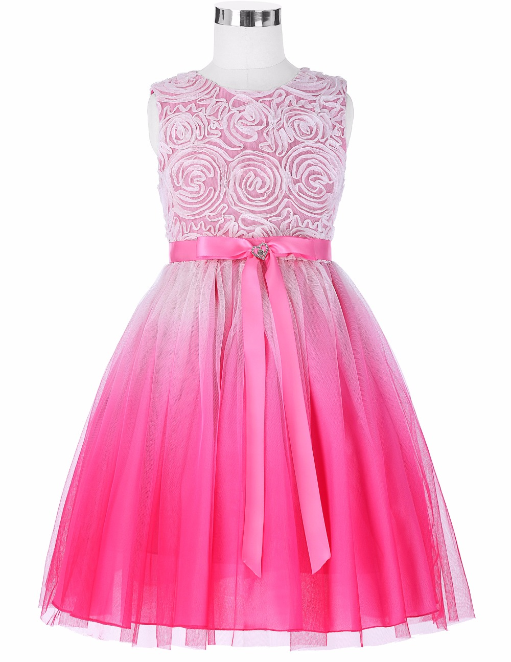 Grace Karin 2017 Flower Girl Dresses Luxury Tulle Flower Party Dresses For Wedding Party First Communion Dresses With Bow Ribbon 5