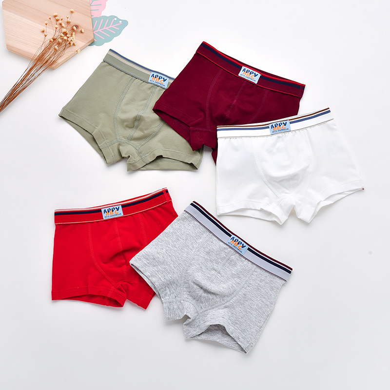 5PCS/LOT New Boys Underwear Solid Color Baby Panties Soft Cotton Underpants For Kids Boy Teenage Inner Shorts Boxer For 2-13Yrs