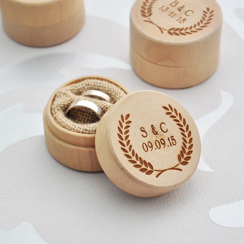 Buy personalized rustic wedding ring box for Wooden ring box