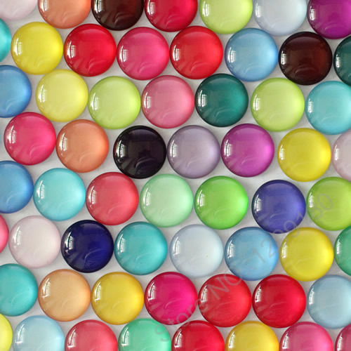 12mm Random Mixed Colorful Round Glass Cabochon Flatback Photo Base Tray Blank DIY Making Accessories In Pairs 50pcs K02796