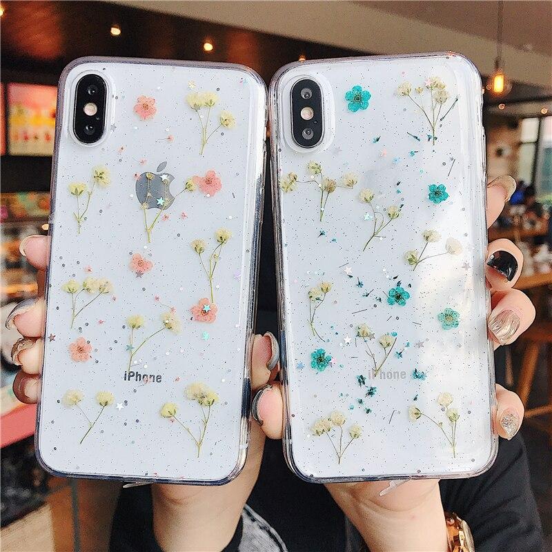 Vraies Fleurs Transparente de Téléphone TPU Souple étui pour iphone 11 X XS XR XS Max 6 6S 7 8 Plus Fleurs Séchées Bling belle Couverture Arrière