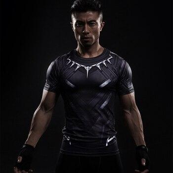 Men's T-shirt Black Panther 3 D Printed T-shirts Men Compression Shirt Captain America Short Sleeve For Men Tops High elasticity