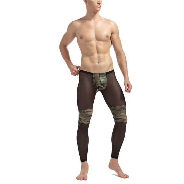 4ce90f994 Men s Fashion Sexy Transparent Mesh Camouflage Tights Stage Performance Breathable  Bodybuilding Shee Pants Legging