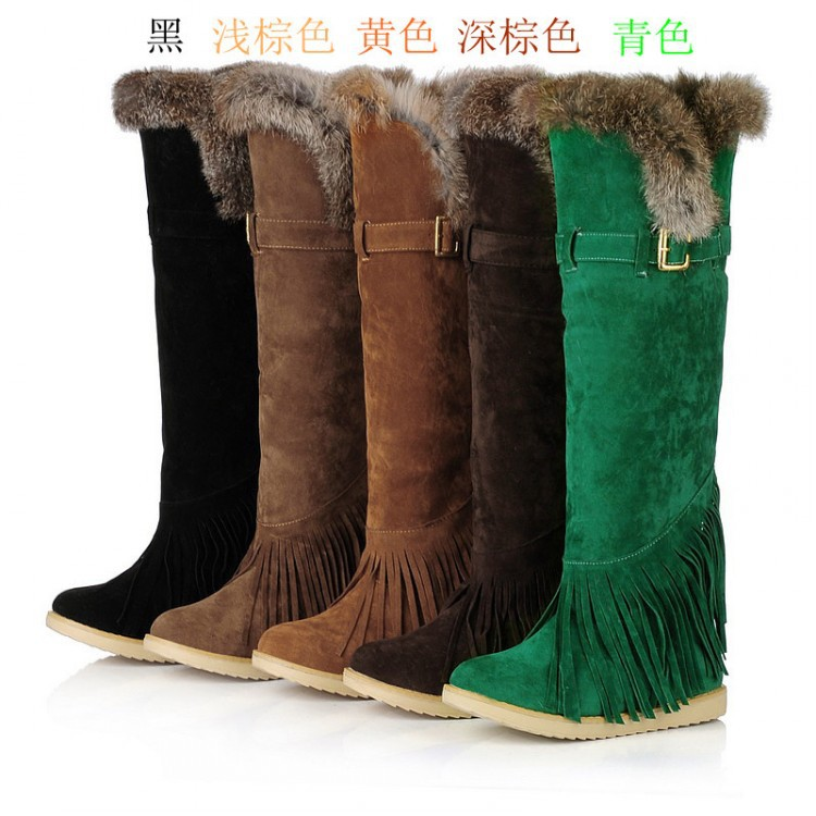 HIZCINTH 2017 Winter Thigh High Snow Boots Warm Fur Shoes Woma Tassel Rabbit Hair Flat Heels knee-high Boots Fringe Botas Mujer winter warm snow boots cotton shoes flat heels knee high boots women boots wholesale high quality