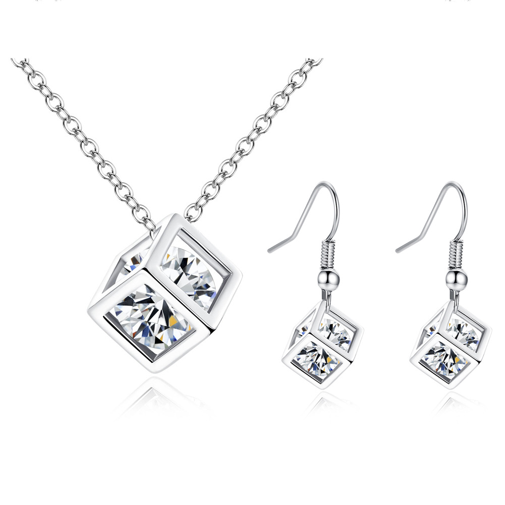 CBO53 Simple Rubik s Cube Jewelry Cubic Zircon Square Earrings Necklace Set