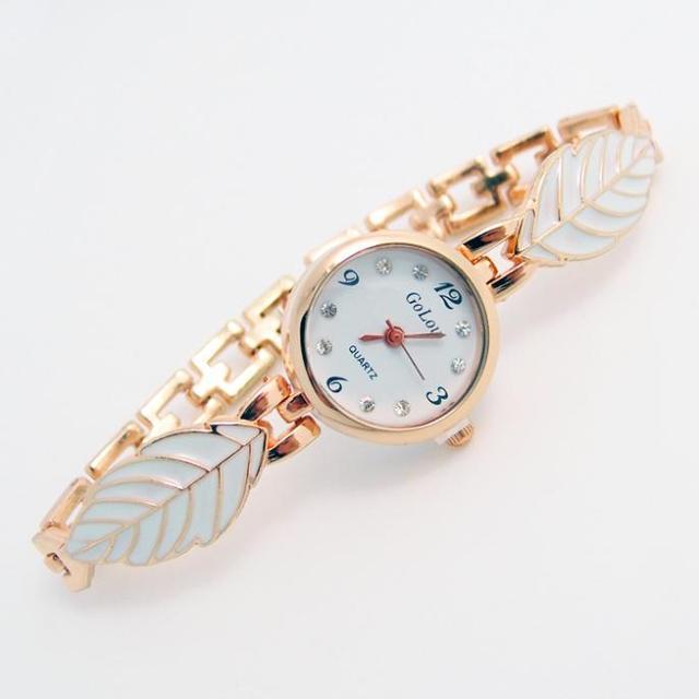 Luxury Rose Gold Leaf Bracelet Watch Women Lady Crystal Dress Quartz Wristwatche