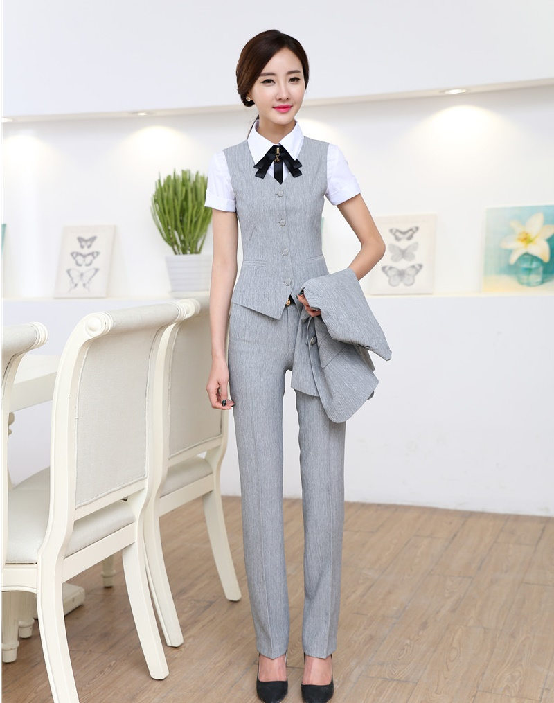 Spring Summer Formal 2 Piece Set Women Business Suits with Pant and Top Sets Vest & Waistcoat Grey Ladies Office Uniform Style