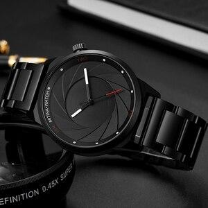 Image 5 - יוקרה מגניב גברים שחור פלדת שעון גברים אופנה למעלה מותג ספורט ייחודי עיצוב קוורץ יד שעונים זכר שעון Relogio Masculino