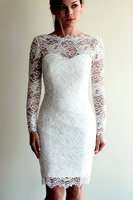 Real Image Scoop Neckline Sheath Long Sleeve Vintage Lace Short Wedding Dresses Knee Length Bridal Gowns