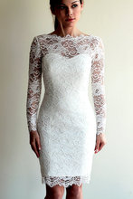Real Image Scoop Neckline Sheath Long Sleeve Vintage Lace Short Wedding Dresses Knee Length Bridal Gowns Vestido De Noiva W1075