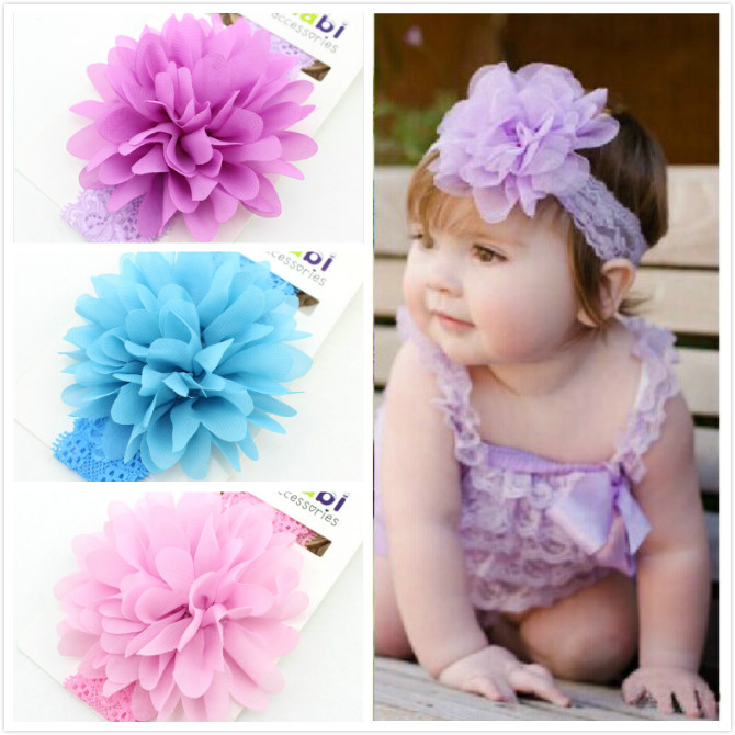 Baby Headband chiffon Handmade DIY Infant Kids Hair Accessories Girl Newborn flower floral Photography Turban Elastic Toddler baby headband ribbon handmade flower diy toddler infant kid floral hair accessories girl newborn pearl turban elastic rose