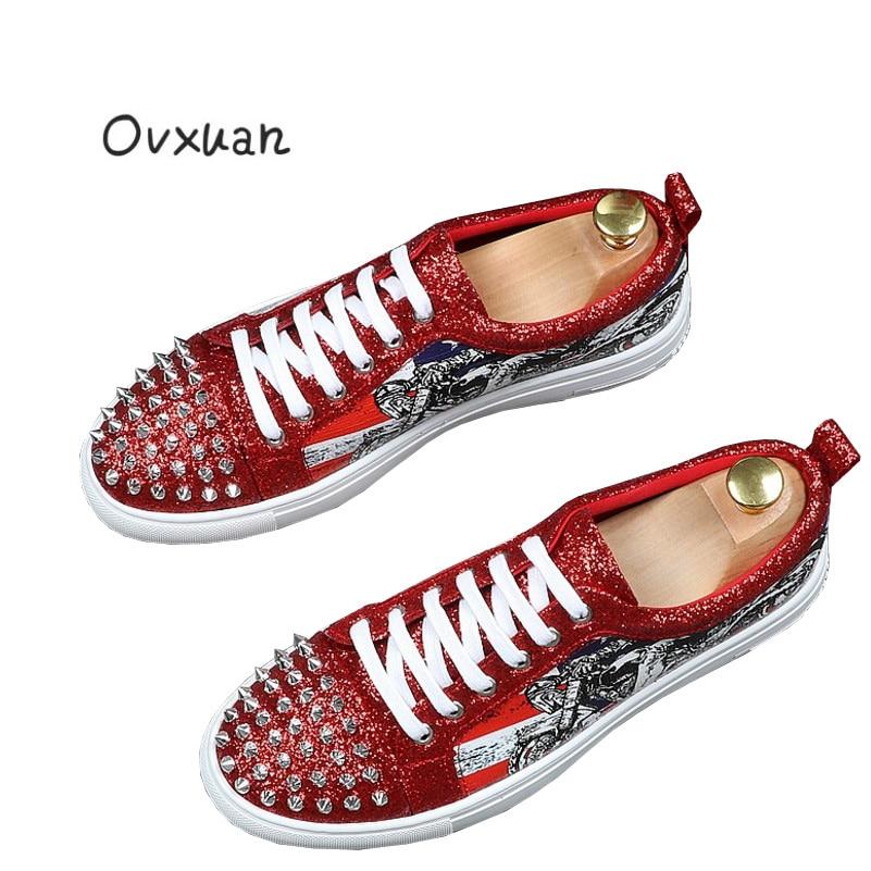 Homens Do Rebites De vermelho Pé Da Dedo Ovxuan Sapatos Casuais Mens Marca Pano Flats Luxo Punk Partido Dos Preto Vestido prata Artesanal Lantejoulas 1qqgPzwO