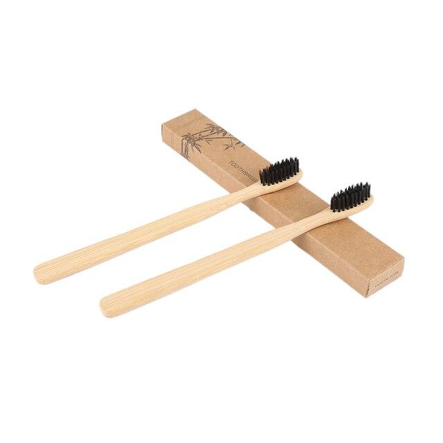 2 piezas Eco-friendly naturaleza dientes cepillo suave pelo de madera de bajo carbono manija de bambú portátil cepillo de dientes de limpieza