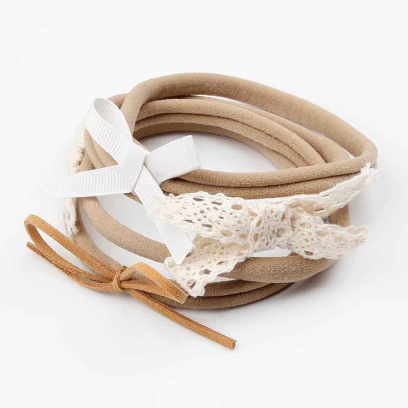 Baby Girls Khaki Elastic Nylon Band With Bows Headband Newborn Hair Rope Headwear Toddler Hair Band Accessories