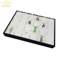 Free Shipping 24 Pendants Display Stands Tray White PU Leatherette Earrings Necklace Display Show Case Organizer Tray Box