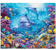 dolphins diamond painting cross stitch sea world scenery wall art decor diamond dotz picture diamond embroidery stickers crafts(China)
