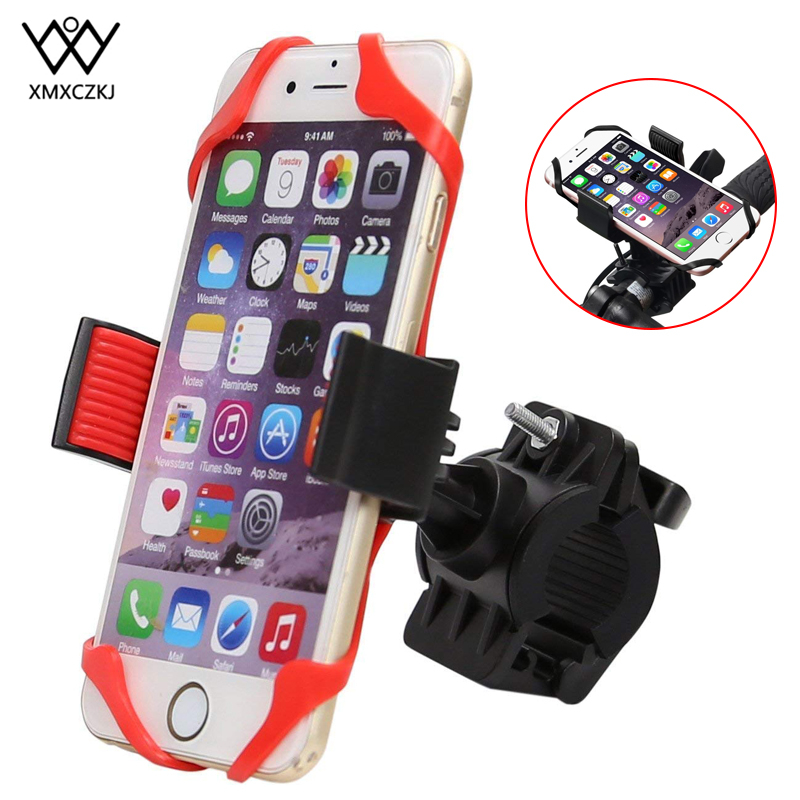 XMXCZKJ Motorcycle Phone Holder Bicycle Handlebar Mount Holder With Silicone Support Cellphone Motorcycle For iPhone xr 7 Xiaomi in Phone Holders Stands from Cellphones Telecommunications