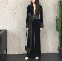 High Quality Brand New 2019 Women Fashion Jumpsuit Deep V neck Long Sleeve Velvet Long Overalls Velour Romper Black Jumpsuit