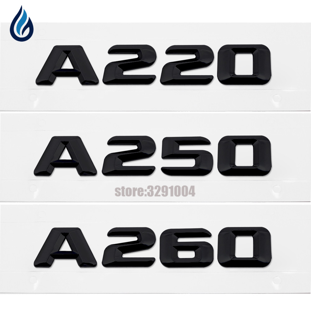 For Mercedes Benz Sticker Plastic Letters Black A220 A250 A260 Car accessories Suitable For Mercedes Benz w211 w212 w202 w204 image