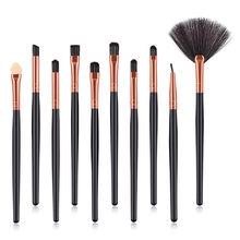 Profesional 10 Pcs Kosmetik Tool Kit Eyeshadow Eyeliner Bibir Oval Concealer Spons Mini Fan Make Up Kuas Makeup Sikat Set(China)
