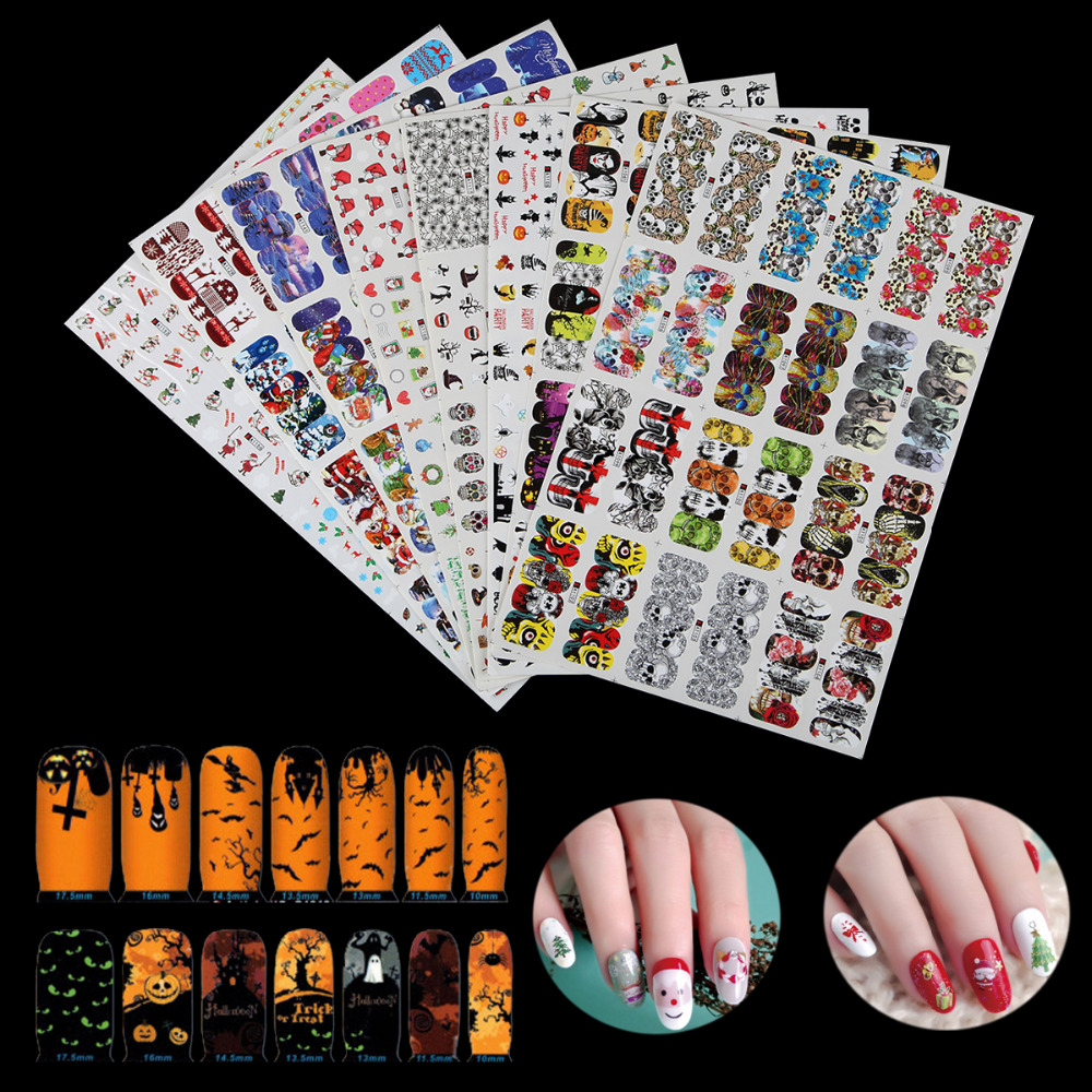 8 Styles Christmas Halloween Nail Art Water Transfer Stickers Foil Snowman Owl Skull DIY Image Full Cover Half Cover Decal Wrap kads new 36pcs set 3d nail art transfer stickers happy halloween design cool skull image nail art decoration tools