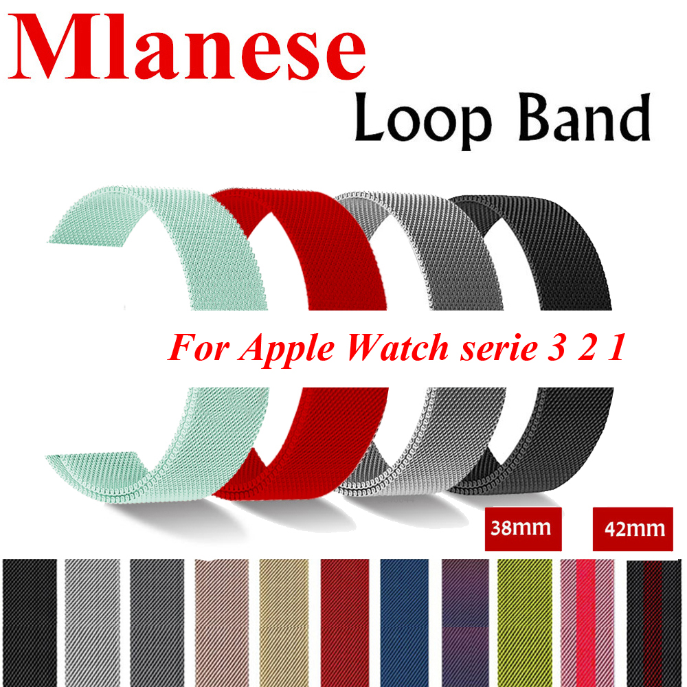 Milanese Loop For Apple Watch band 42mm 38mm Iwatch 3/2/1 Pulseira link Bracelet Stainless Steel Strap Watchband Accessories milanese loop watch strap men link bracelet stainless steel woven black for apple watchband 42mm 38mm iwatch free tools