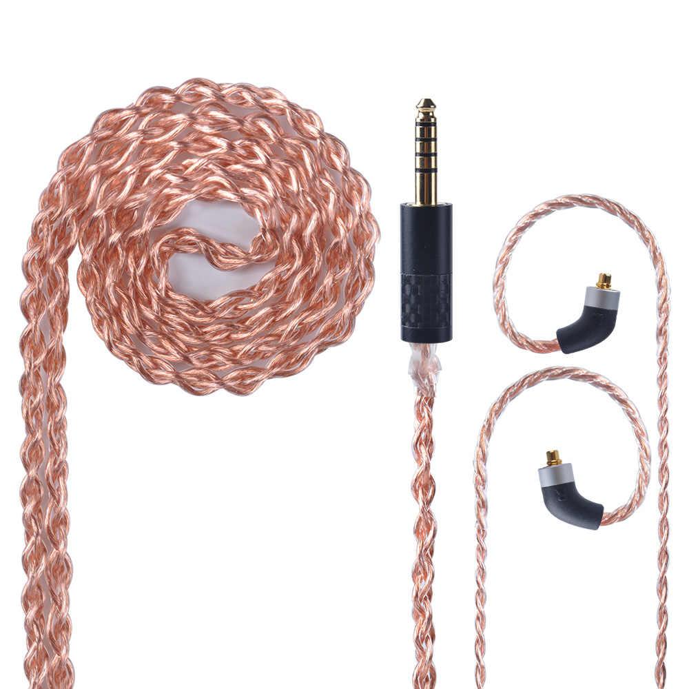 OFHC 24 AWG 6N 고순도 구리 케이블 HQ8 HQ10 용 대만에서 MMCX 커넥터가있는 2.5/3.5/4.4mm 밸런스드 이어폰 케이블