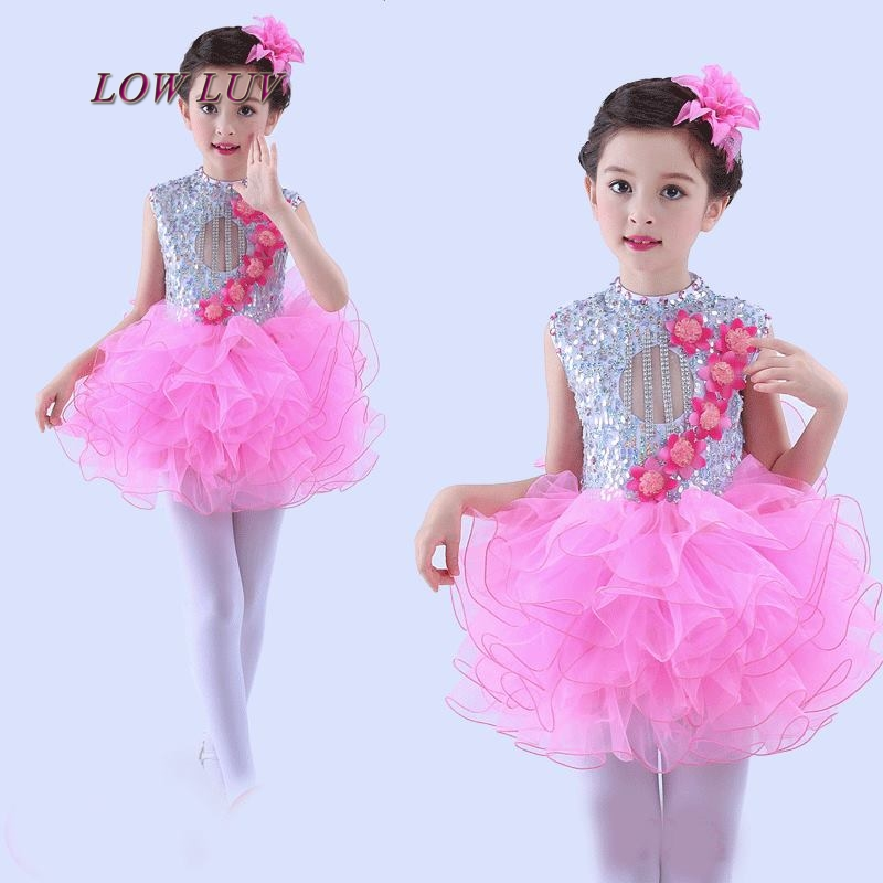 2017Children Jazz Sequins Dance Costume Modern catwalk show costumes Girl Group Stage Performance Singing Clothes Kids Dancewear