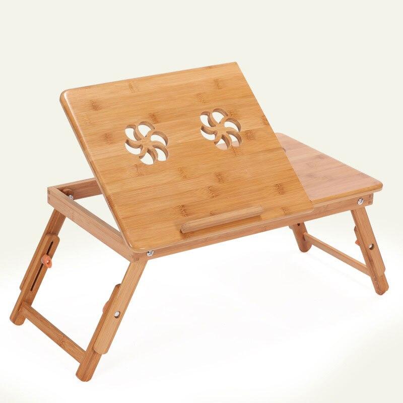 Folding Portable Bamboo Laptop Table Adjustable Computer ...