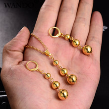WANDO Charm Jewelry set Gold Color Beads Women Girls Long pendant Necklace Earrings African Arab Nigeria Ball birthday gift s144(China)