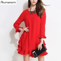 Autumn Winter Dress Solid Black Red O neck Wrist Flare Sleeve Pleated Hem Women Clothes Spring Dress Plus Size Hot New 5XL 4XL M