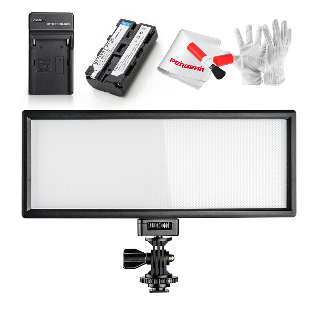VILTROX Ultra Thin CRI95 5600K/3300K LED Video Light Dimmable On-camera Light Pad with Battery for Canon Nikon DSLR Camera +Gift