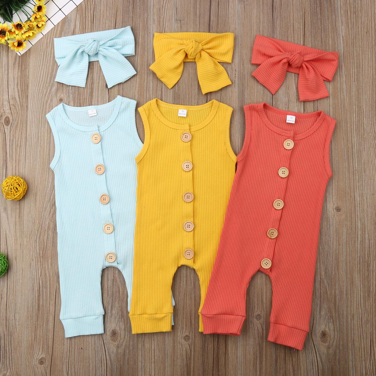 Newborn Infant Baby Girl Boy 2pcs Outfit Romper Jumpsuit Bodysuit Clothes Set  Autumn Spring  Headband 0-18M 2pcs Cotton