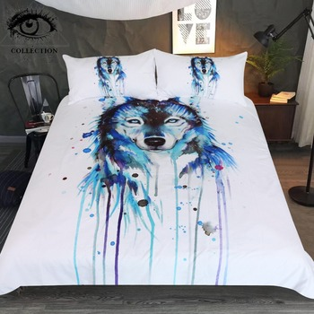 Ice Wolf by Pixie Cold Art Bedding Set Watercolor Printed Duvet Cover With Pillowcases Blue Animal Home Textiles 3pcs Bedclothes