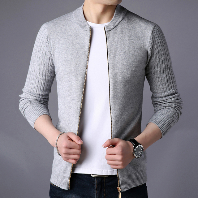 Cardigan Solid Stand Collar Zipper Men's Sweater  1