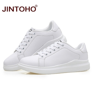 Image 2 - JINTOHO Big Size Fashion Brand Casual Men Leather Shoes White Male Casual Shoes Breathable White Sneakers Leather Mens Moccasins
