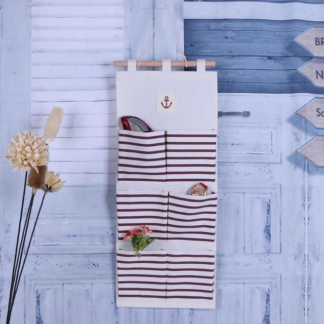 Cotton 6 Pockets Wall Hanging Storage Bags Pocket Space Saver Door Hanging  Sundry Holder Rack For