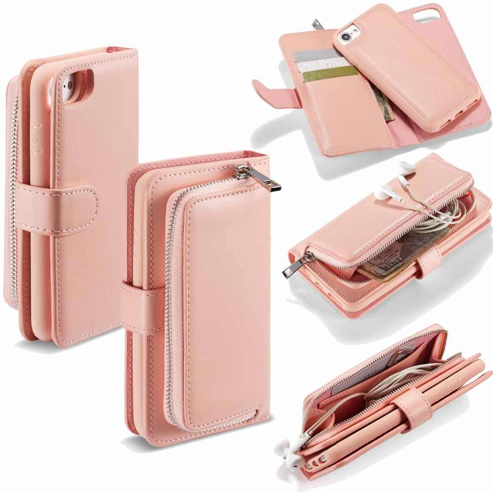 Detachable Wallet Folio Case for iPhone 6S 7 Plus PU Leather Purse Clutch Removable Magnetic TPU Cover for iPhone XS XR XS Max