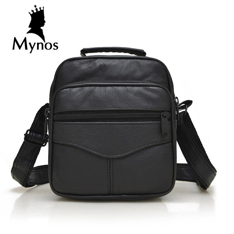 MYNOS 100% Genuine Leather Men Bag Luxury Brand Designer Vintage Business Messenger Bags Shoulder Crossbody Bag Men Male Bag thumbnail