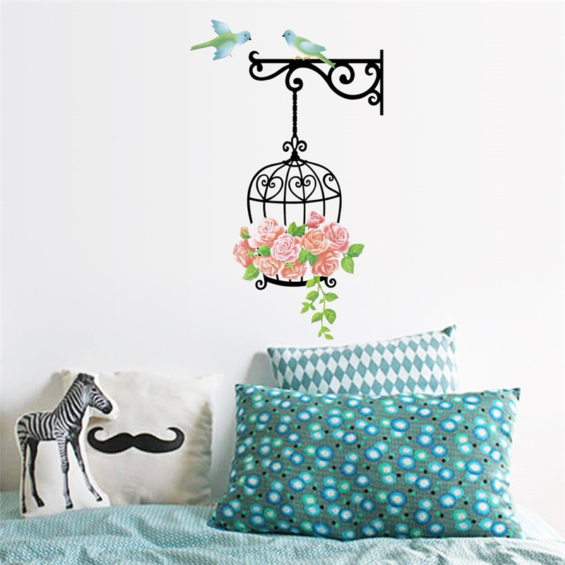 Nature Bird Birdcage Flower wall stickers Decals Bedroom Living Room TV background DIY Home Decoration Wallpaper Poster Mural