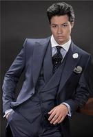 Последние Пальто Пант дизайн итальянский Темно синие двубортный мужской костюм Slim Fit 3 предмета смокинг на заказ жениха костюмы для выпускн