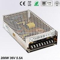 Single Output Uninterruptible Adjustable 36V 200W Switching power supply unit 110V 220V ac to dc smps for LED Strip light cnc