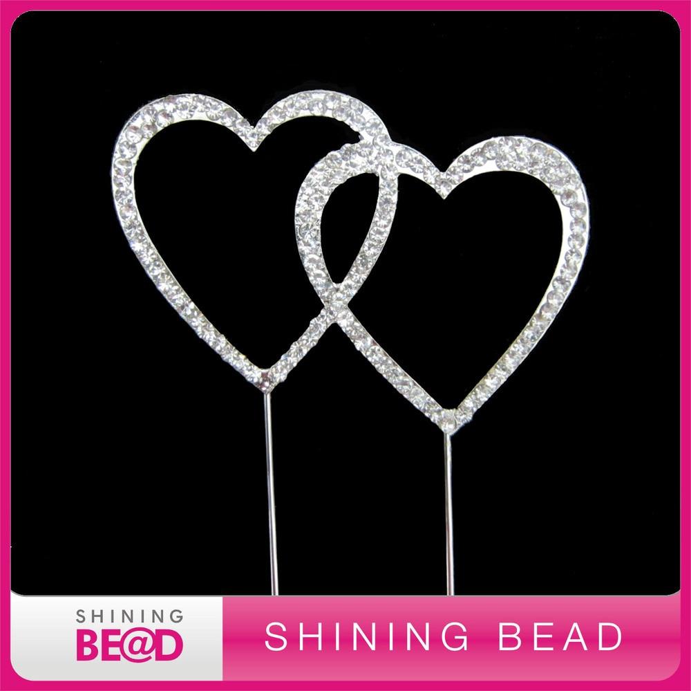 jantung ganda berlian imitasi kue puncak untuk pernikahan, pengiriman - Hari libur dan pesta