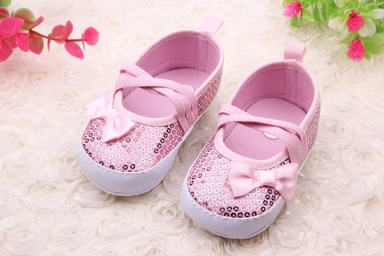 Hot Baby Girl Dress Shoes Bling Solid Elastic Band Cute Bowknot Baby Girl Toddler Shoes For 0-15 Months ...