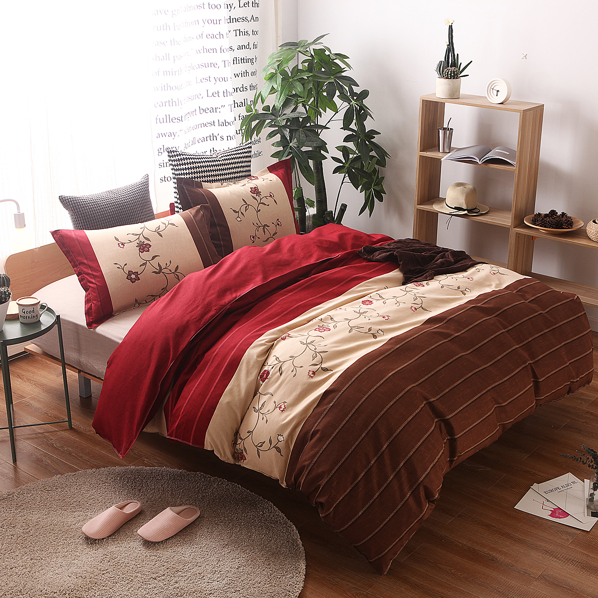 Beige and brown bedding - Home Textiles Red Beige Brown Flower Style Bedding Sets King Queen Full Twin Us Uk