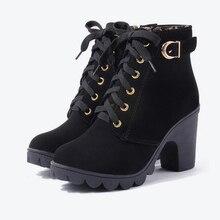 купить YeddaMavis Women Shoes New Ankle Flock Boots Women Platform High Heels Buckle Shoes Thick Heel Short Boot Ladies Casual Footwear по цене 923.29 рублей